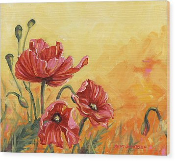Poppies Wood Print by Kurt Jacobson