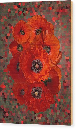 Poppies Wood Print by Nigel Chaloner