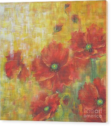 Wood Print featuring the painting Poppies On A Sunny Day by Kathleen Pio