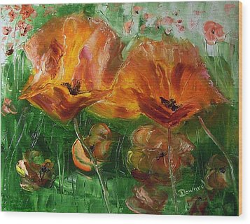 Poppies Wood Print by Raymond Doward