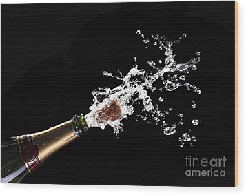 Popping Champagne Cork Wood Print by Gualtiero Boffi