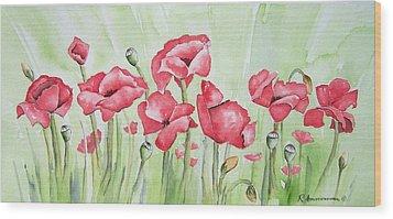 Poppy Field Wood Print by Regina Ammerman