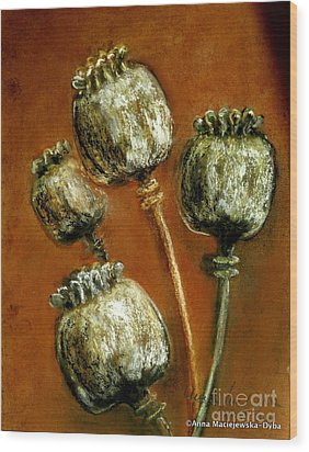 Poppy Seed Heads Wood Print by Anna Folkartanna Maciejewska-Dyba