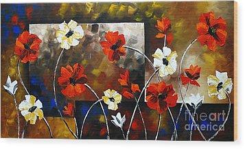 Poppy Spectrum Wood Print by Uma Devi