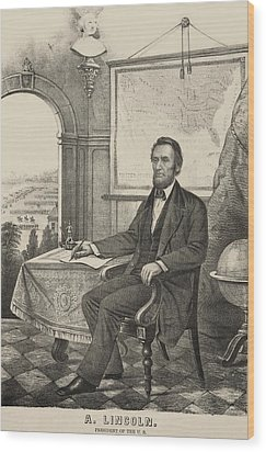 Popular Print Of President Lincoln Made Wood Print by Everett
