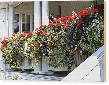 Porch Flowers Wood Print by Anne Raczkowski