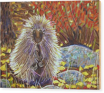 Porcupine On The Trail Wood Print by Harriet Peck Taylor