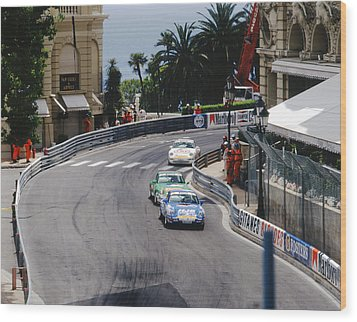 Porsches At Monte Carlo Casino Square Wood Print by John Bowers