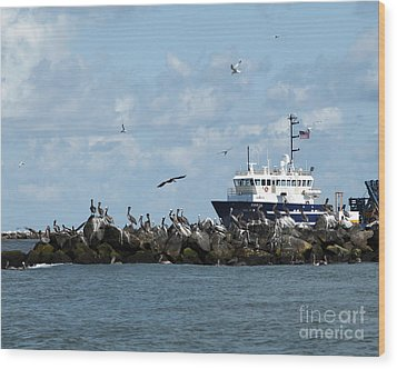 Wood Print featuring the photograph Port Fourchon Life by Luana K Perez