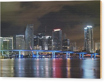 Wood Print featuring the photograph Port Of Miami Downtown by Gary Dean Mercer Clark