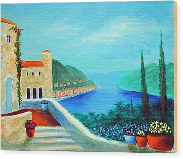Wood Print featuring the painting Portafino Pleasures by Larry Cirigliano