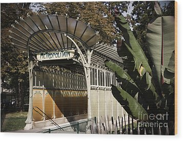 Porte Dauphine Metro Wood Print by RicharD Murphy
