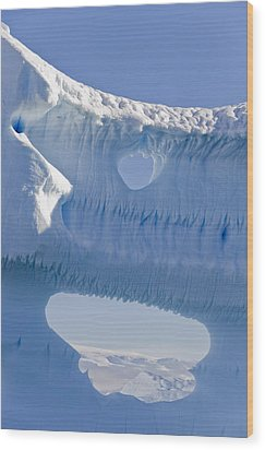Portion Of A Gigantic Iceberg Wood Print by Ron Watts