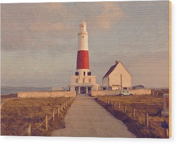 Portland Bill Lighthouse Center Wood Print by Nop Briex