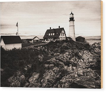 Wood Print featuring the photograph Portland Head by Kelly Reber