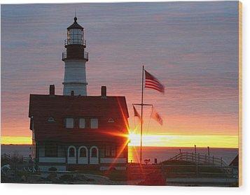 Portland Head Light At Sunrise Wood Print by Rick  Blood