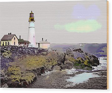 Wood Print featuring the mixed media Portland Head Light by Charles Shoup
