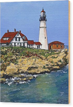 Portland Head Light House Wood Print by Randy Sprout
