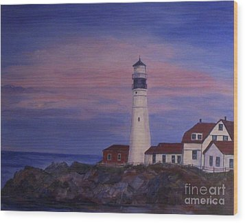 Wood Print featuring the painting Portland Head Lighthouse At Dawn by Julie Brugh Riffey