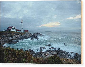 Portland Head Lighthouse At Sunrise Wood Print by Thomas Northcut