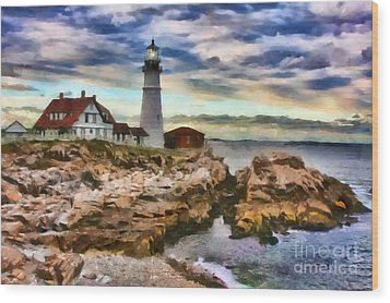Portland Head Lighthouse In Portland Maine Wood Print