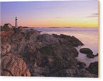 Portland Head Lighthouse Seascape Wood Print by Roupen  Baker