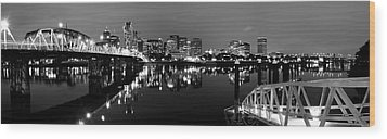 Portland In Black And White Wood Print