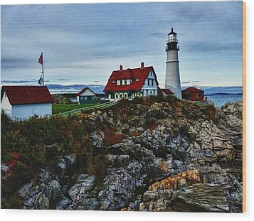 Wood Print featuring the photograph Portland Lighthouse by Kelly Reber