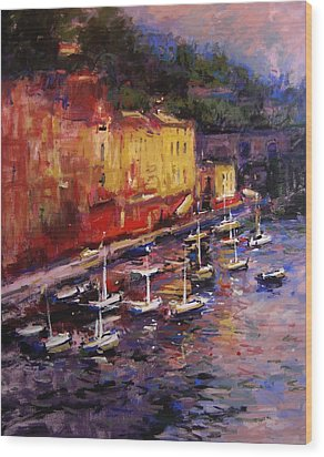 Portofino At Sundown Wood Print by R W Goetting