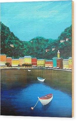 Wood Print featuring the painting Portofino by Larry Cirigliano