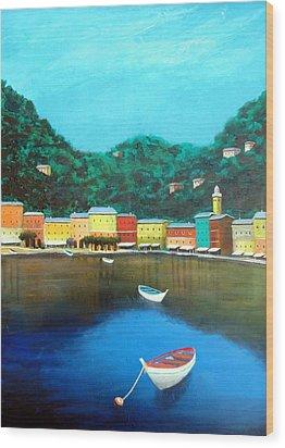 Portofino Wood Print by Larry Cirigliano