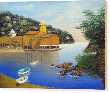 Wood Print featuring the painting Portofino Pleasures by Larry Cirigliano