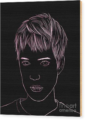Portrait Drawing Wood Print by Bou Lemon
