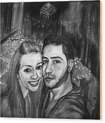 Wood Print featuring the pastel Portrait In Black And White by Amanda Dinan