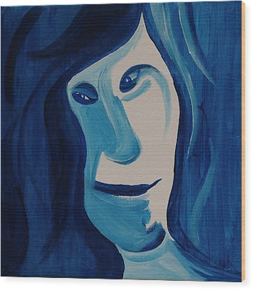Wood Print featuring the painting Portrait In Blue by Sheep McTavish
