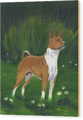 Portrait Of A Basenji Wood Print
