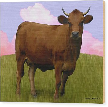 Portrait Of A Cow Wood Print by Snake Jagger