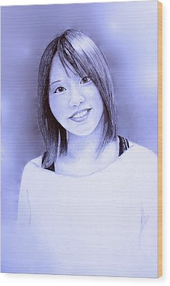 Wood Print featuring the drawing Portrait Of A Japanese Girl by Tim Ernst