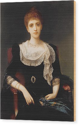 Portrait Of A Lady Wood Print by Charles Edward Halle