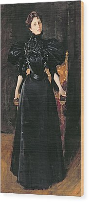 Portrait Of A Lady In Black Wood Print by William Merritt Chase