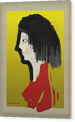 Portrait Of A Little Lady Wood Print by Asok Mukhopadhyay