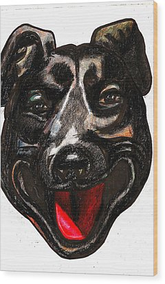 Portrait Of A Pooch Wood Print by Al Goldfarb