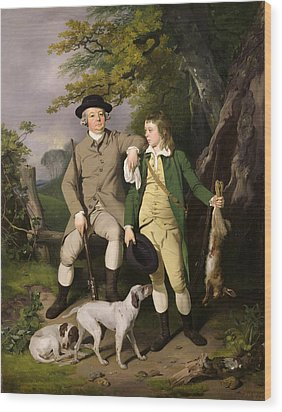 Portrait Of A Sportsman With His Son Wood Print by Francis Wheatley
