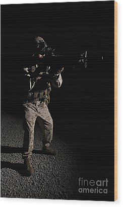 Portrait Of A U.s. Marine In Northern Wood Print by Terry Moore