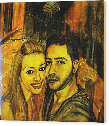 Portrait Of A Young Couple Wood Print