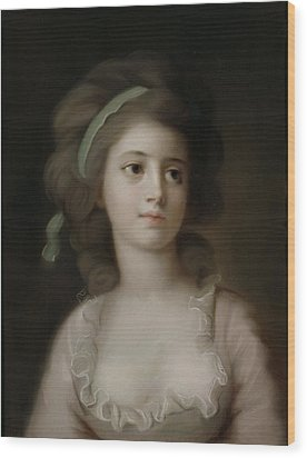 Portrait Of A Young Lady Wood Print by French School