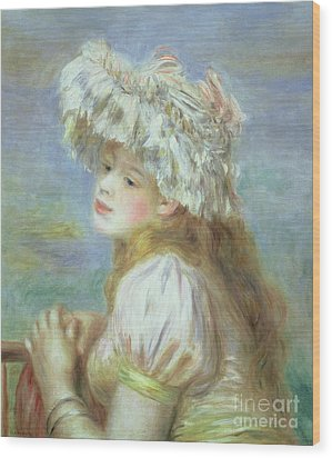 Portrait Of A Young Woman In A Lace Hat Wood Print by Pierre Auguste  Renoir