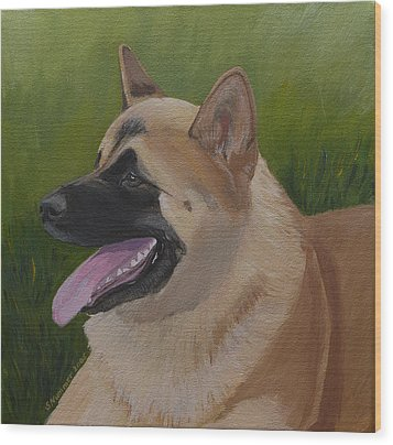 Portrait Of An Akita Wood Print