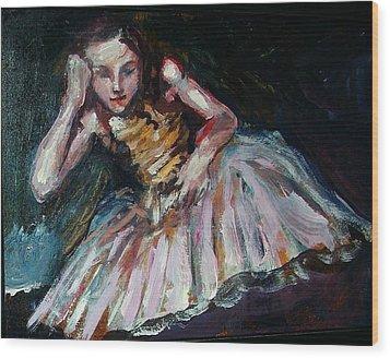 Portrait Of Dakota Fanning Wood Print