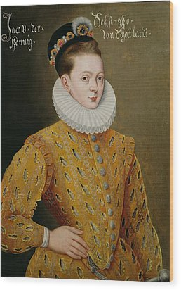 Portrait Of James I Of England And James Vi Of Scotland  Wood Print by Adrian Vanson